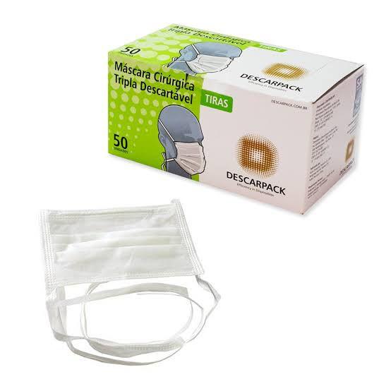 Mascara Cirurgica Tripla Com Tiras Descarpack