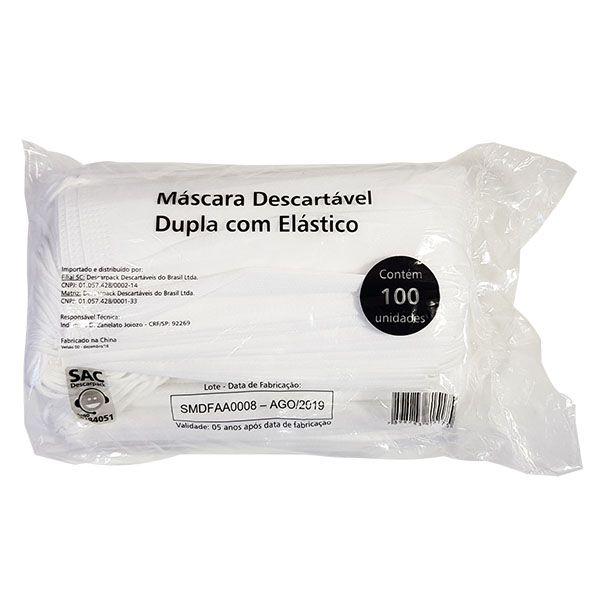 Máscara Descartável Dupla C/ Elástico Pct c/ 100 unds  - Descarpack