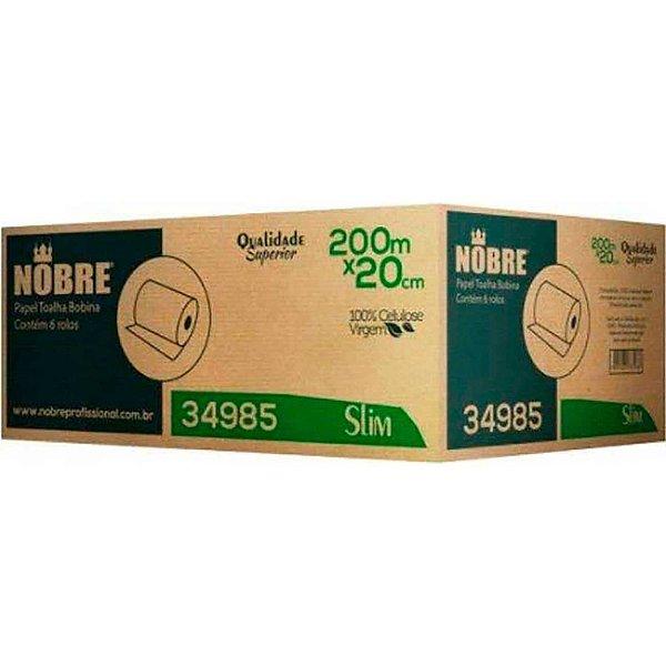 Papel Toalha Bobina 100% Celulose Cx c/ 6 bobinas c/ 200m - Nobre