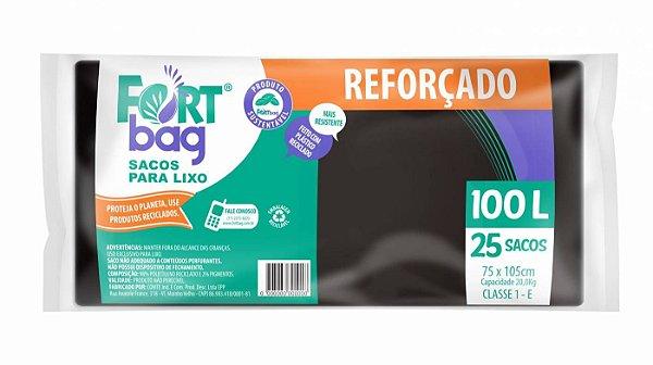 Saco para lixo 100lt Preto Reforçado Pacote com 25 Unidades - Fortbag