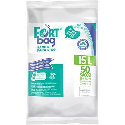Saco para lixo 15lt Branco Pacote com 50 Unidades - Fortbag