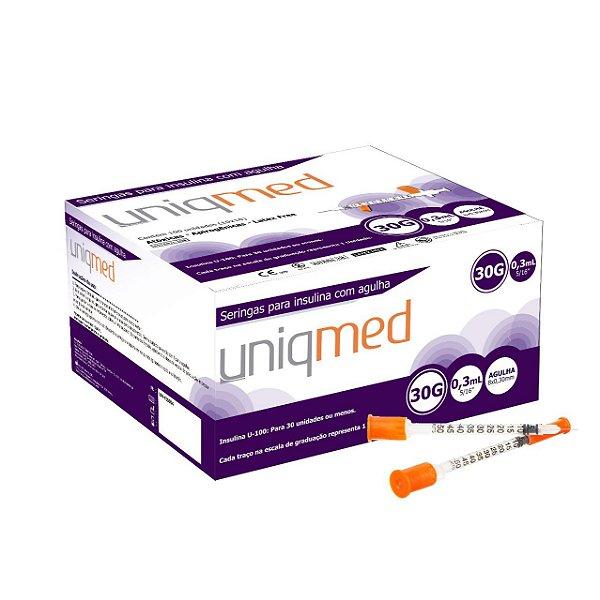 Seringa 0,3 mL c/ Agulha 8,0 x 0,3mm Cx c/ 10pcts - Uniqmed