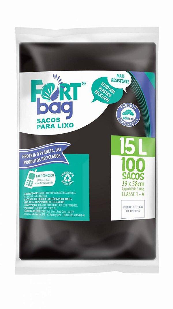 Saco para lixo 15lt Preto Pacote com 100 Unidades - Fortbag