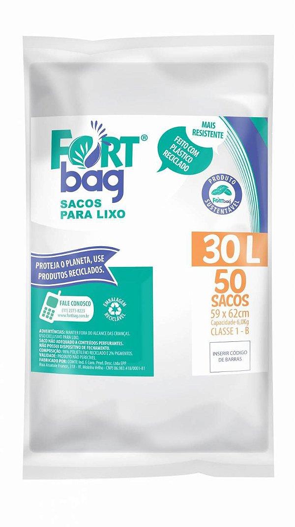 Saco para lixo 30lt Branco Pct c/ 50 Unds - Fortbag