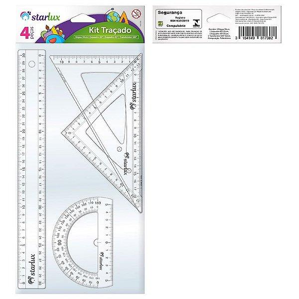 Kit Traçado Starlux com 1 Régua 30cm + 2 Esquadros + 1 Transferidor 180º