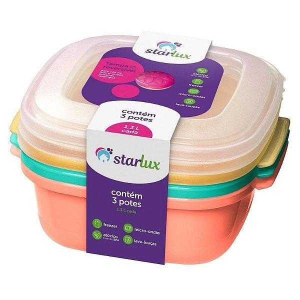 Pote1,3L 3 Peças Starlux(Cantos Arredondados Facilitando a Limpeza)