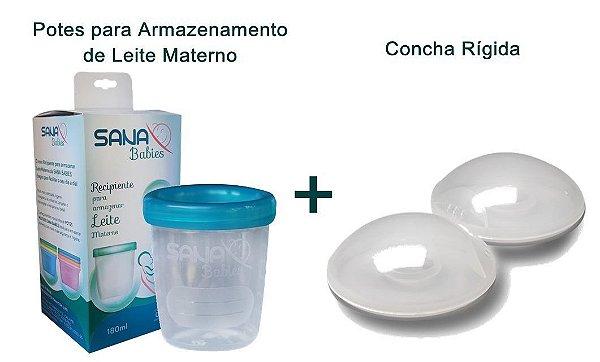 Kit Concha Rígida e Potes para armazenamento de leite materno