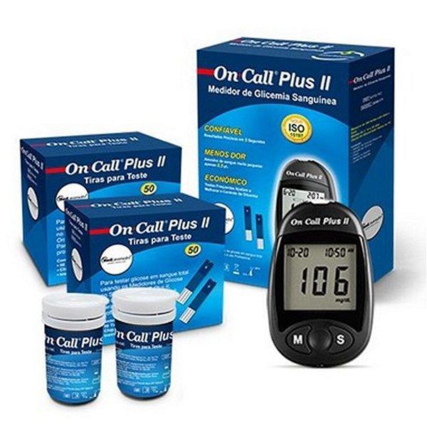 On Call Plus II Monitor de Glicemia E 2 Caixas de Tira Teste