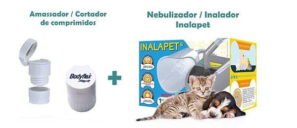 Kit Porta Comprimidos Bodyflex 3 em 1 Cortador E Moedor + Nebulizador / Inalador para Cães e Gatos Inalapet