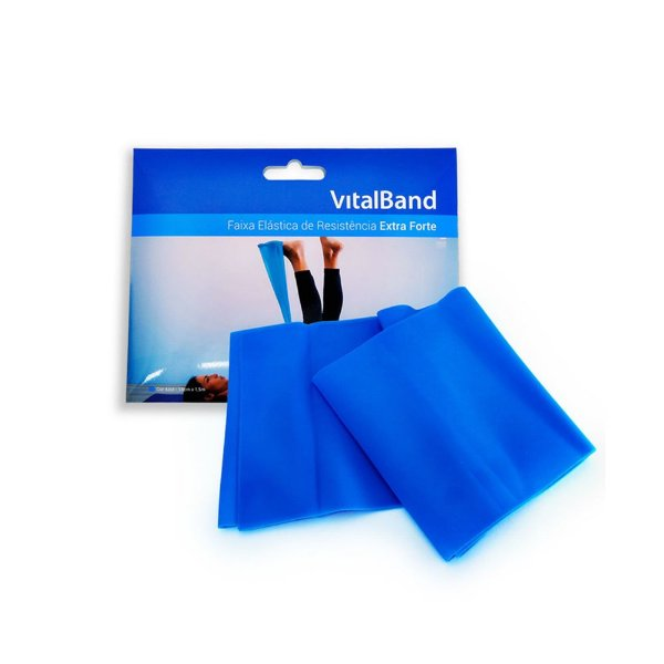 Faixa Elástica Vitalband Fisiovital  Extra Forte Cor Azul