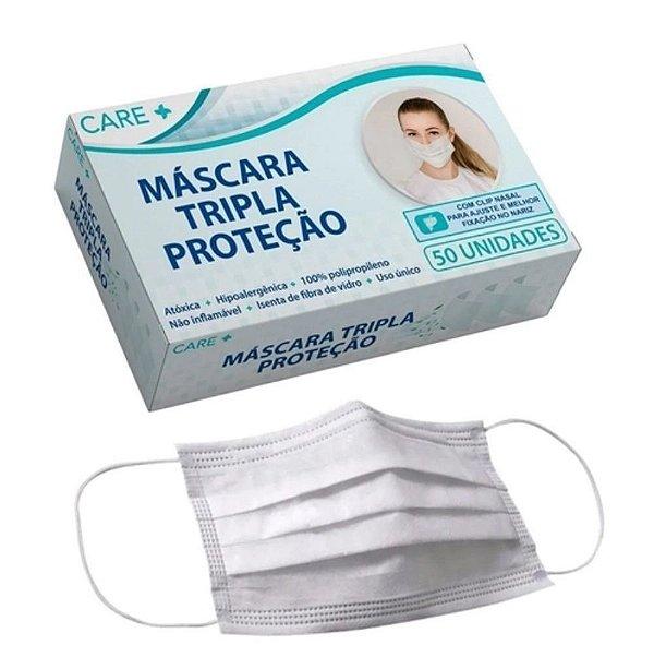 Máscara Cirúrgica Descartável Tripla Cx 50 unidades Care +