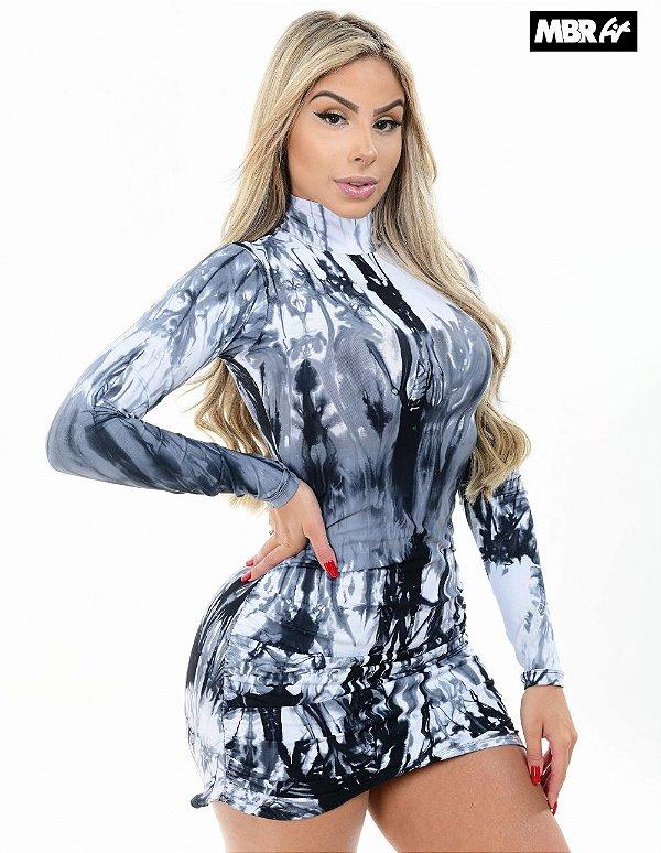 Vestido supplex Tie dye preto e branco