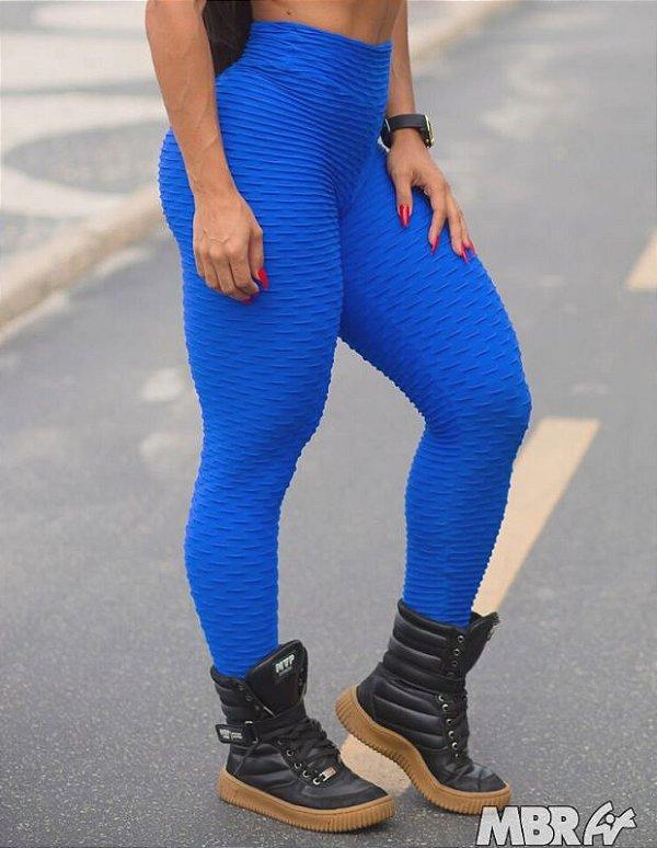Legging Brocado Azul royal empina bumbum