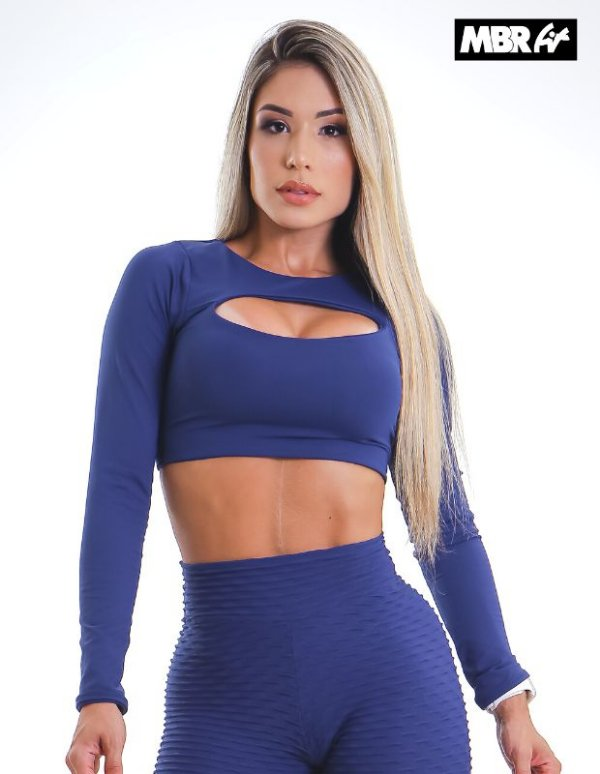 Top juju Azul marinho manga longa