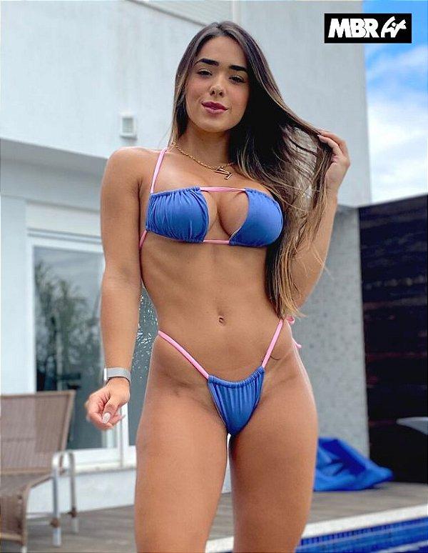 Biquini Noronha Azul / rosa bb