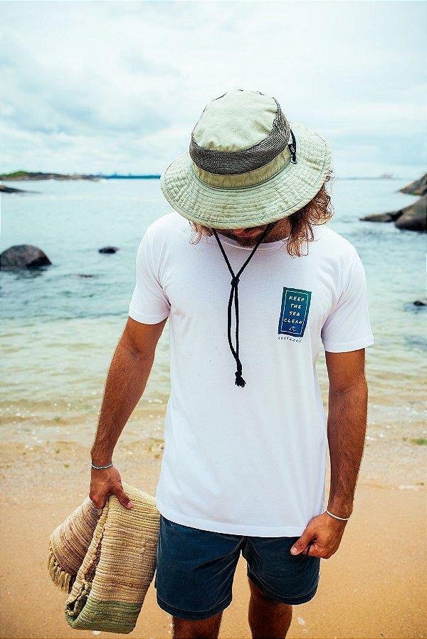 Camiseta Algodão Orgânico Keep the Sea Clean. Preserve os Oceanos!