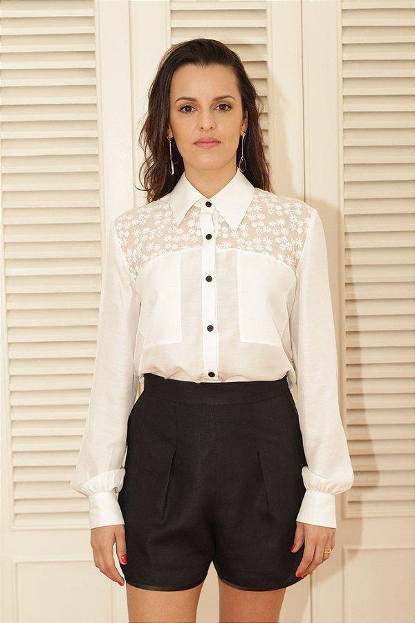 Camisa Branca Pala Bordada