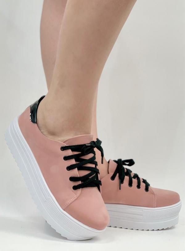 Tênis Feminino Flatform Nobuck Blush - Rosa