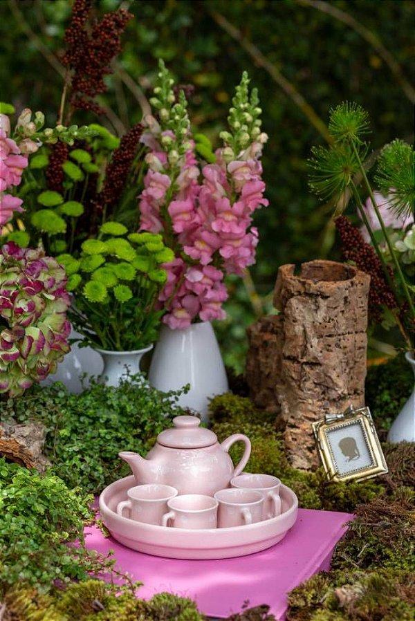 Mini conj. de chá rosa com poá branco