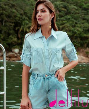 Camisa Tricoline Azul Claro - OVC28