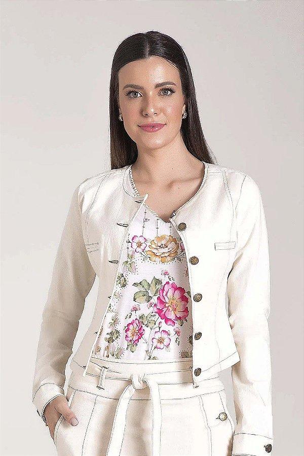 Jaqueta Sarja com Recortes Off White Laura Rosa - 89609