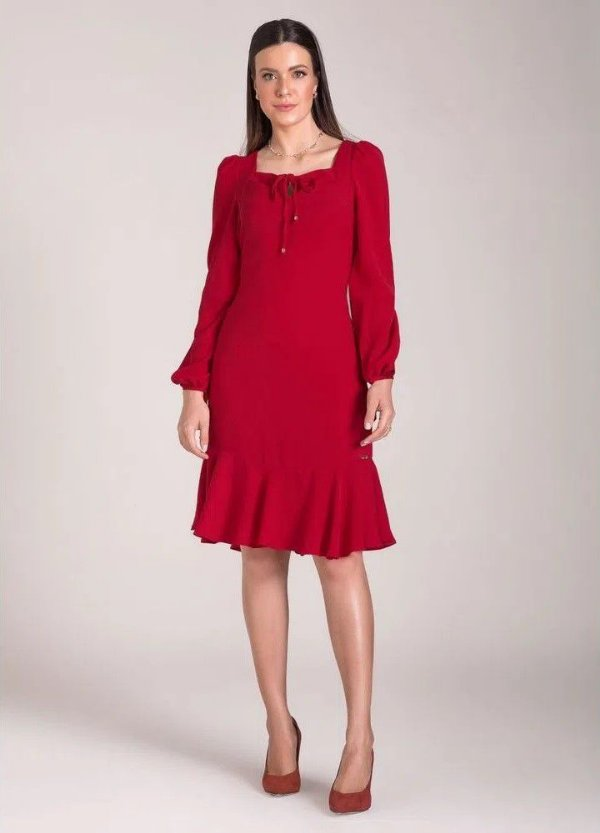 Vestido Sino Plano Decote Quadrado Vermelho Laura Rosa - 89651
