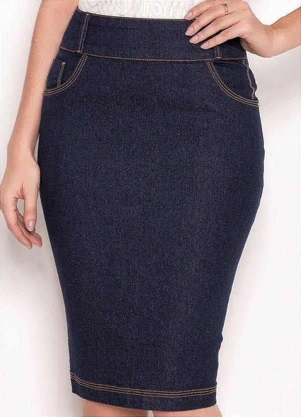 Saia Reta Jeans com Pespontos 62 CM Laura Rosa - 89517