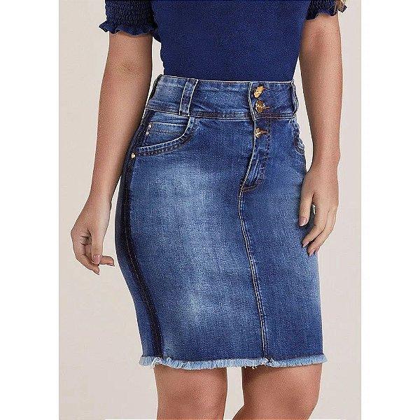 Saia Jeans Tradicional Barra Desfiada Titanium Jeans  -  24815
