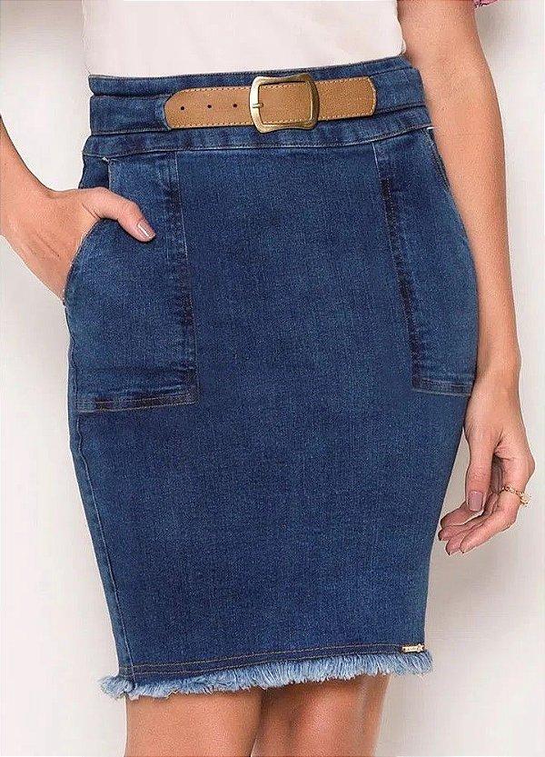 Saia Reta Jeans 50 CM Com Cinto e Barra Desfiada Laura Rosa - 89408