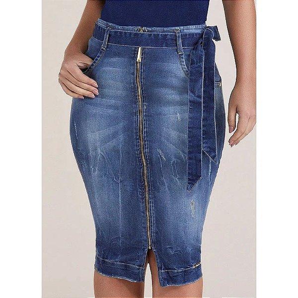 Saia Jeans Lápis Zíper Frontal Com Cinto Titanium - 24876