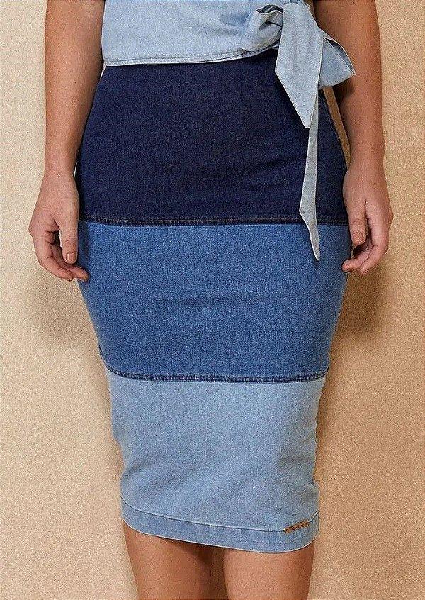 Saia Jeans Lápis 3 Cores Midi Titanium Jeans  - 25125