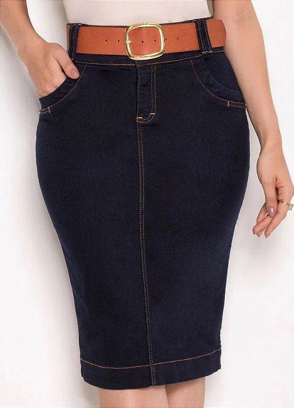Saia Tradicional Jeans Com Detalhes Em Pespontos 62 CM Laura Rosa - 89514