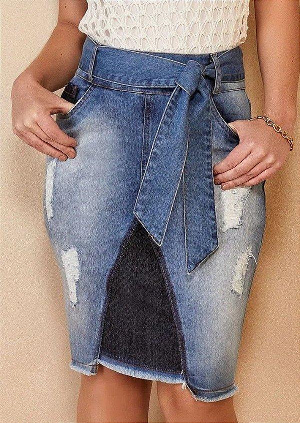 Saia Jeans Destroyed com Amarração Titanium Jeans - 25119