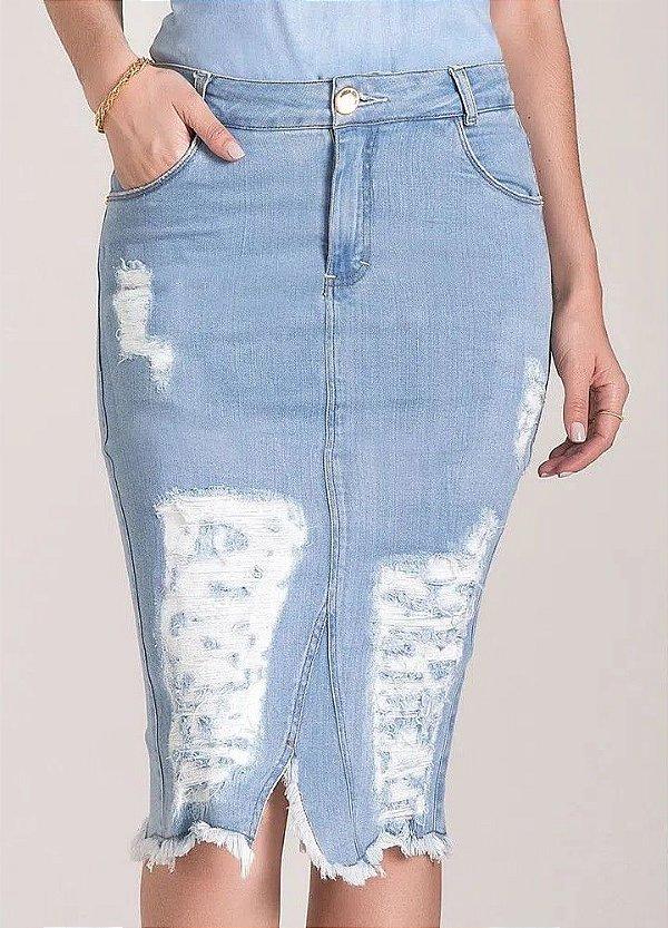 Saia Tradicional Jeans 67 CM Destroyed Com Fenda Frontal e Traseira Sutil Laura Rosa - 89667