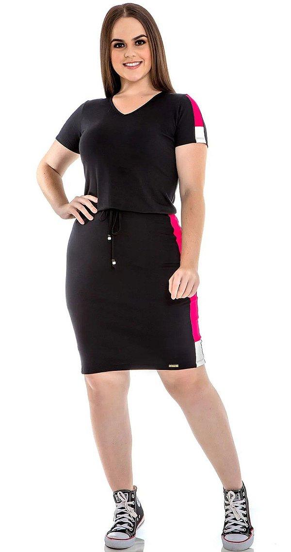 Vestido Malha Com Recortes Diferenciados E Cordão Para Amarração Hadaza - 50695