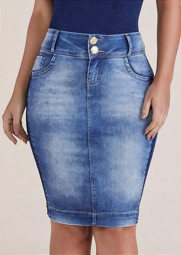 Saia Jeans Secretária Lavagem Diferenciada Titanium Jeans - 24827