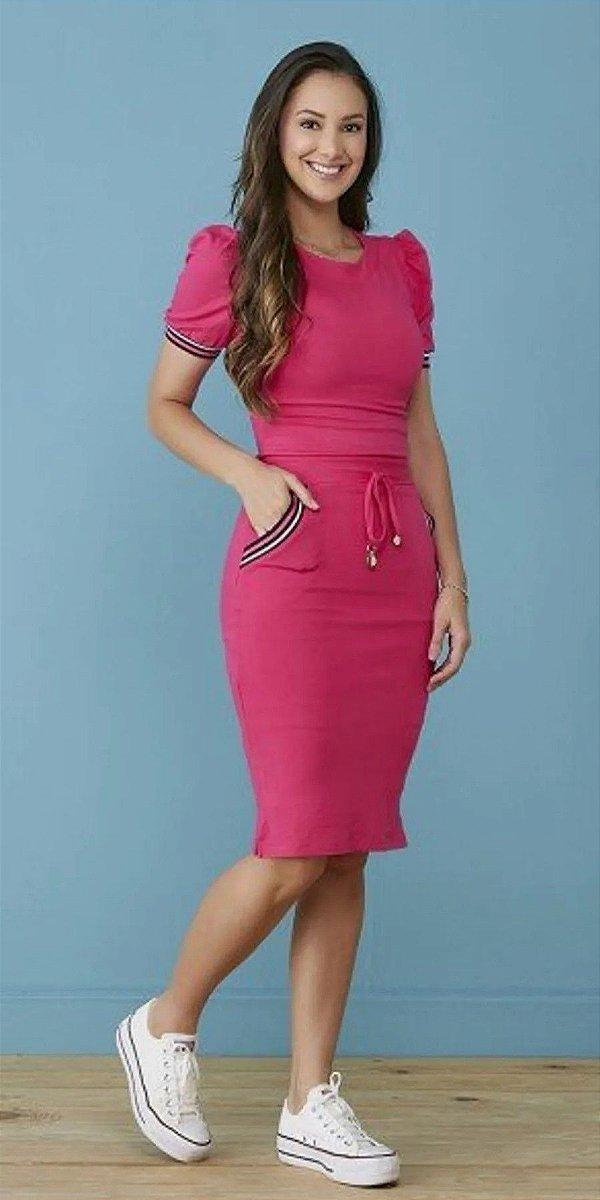Vestido Pink Irene Manga Curta Com Punho Galão E Cordão Para Amarração Tatá Martello - 7202