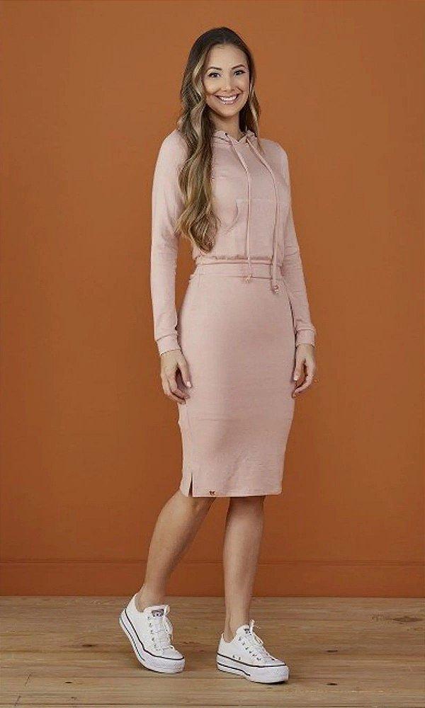 Vestido Karen Rose Midi Com Bolso Canguru E Capuz Tatá Martello - 8160