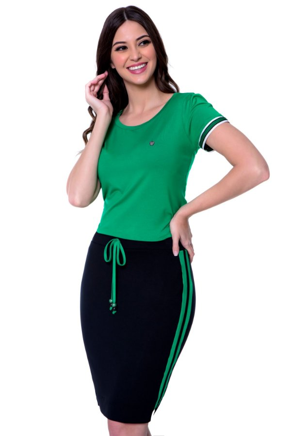Conjunto Malha Galão Listrado Verde Natali Hapuk - 49153