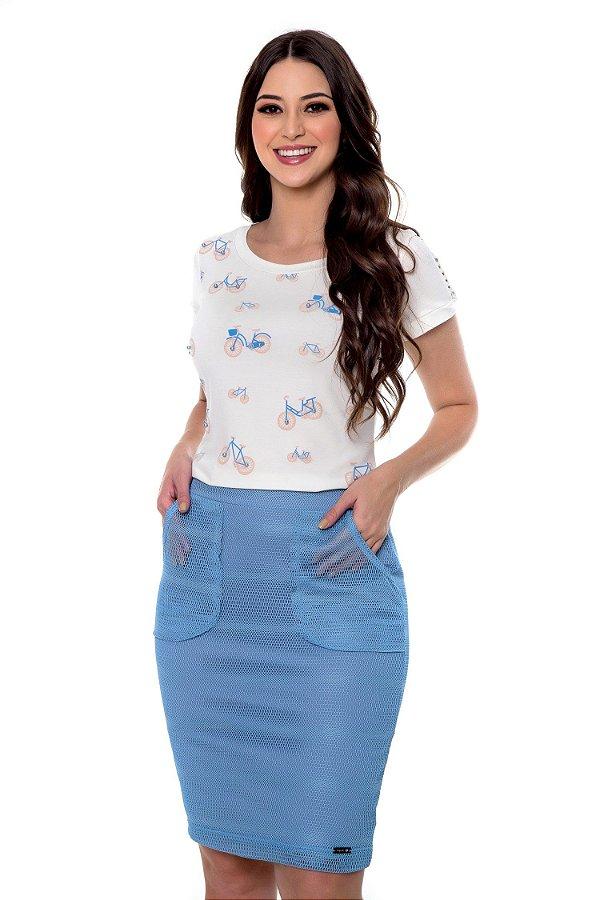 Conjunto Helena Saia Tela de Malha Azul Hapuk - 49143