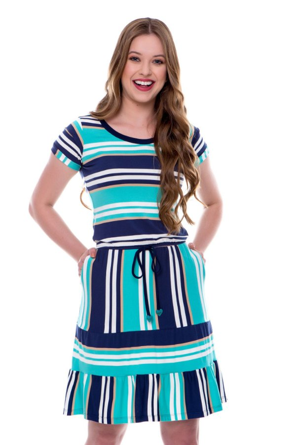 Vestido Evasê Listras e Babado Azul Cris Hapuk - 60548