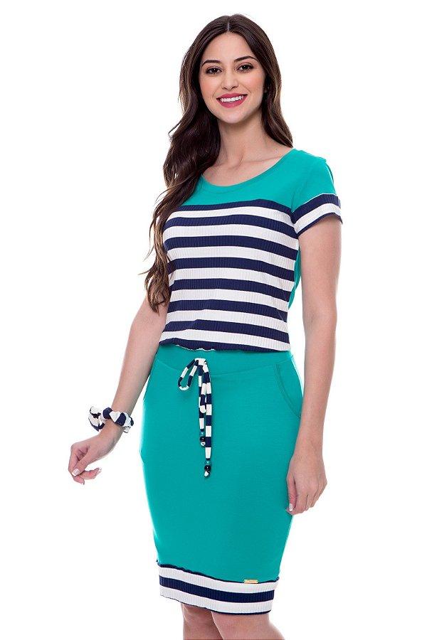 Vestido Rec Listras Verde Emilie Hapuk - 60543