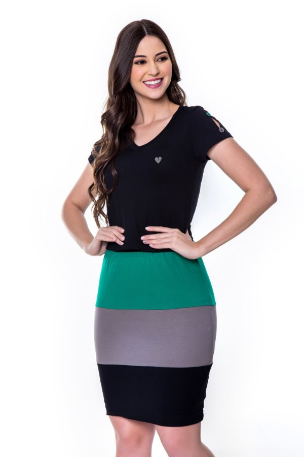Vestido de Malha com Rec Coloridos Preto Eveline Hapuk - 60601