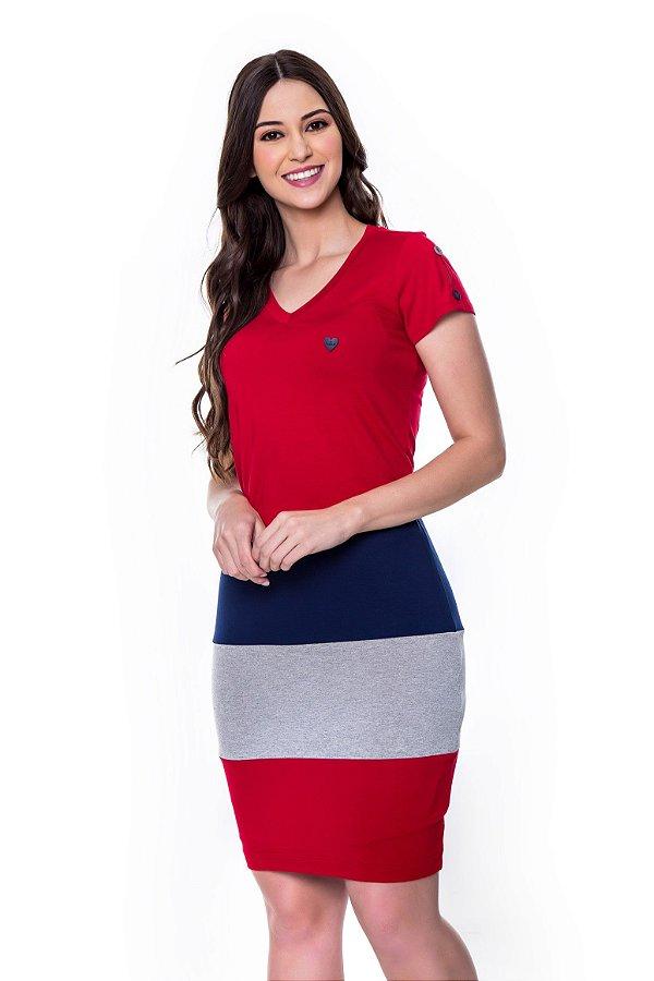 Vestido de Malha com Rec Coloridos Vermelho Eveline Hapuk - 60601
