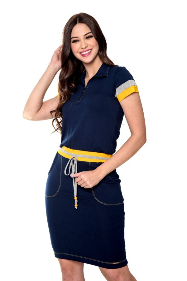 Vestido Gola e Moletinho Amarelo Carina Hapuk - 60562