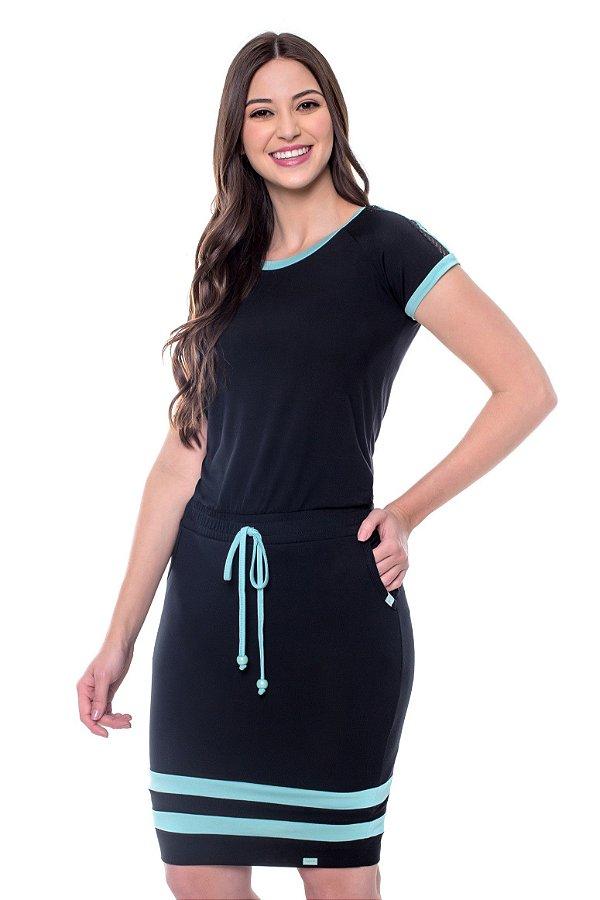 Vestido Malha Recortes e Tela Preto Layla Hapuk - 60561