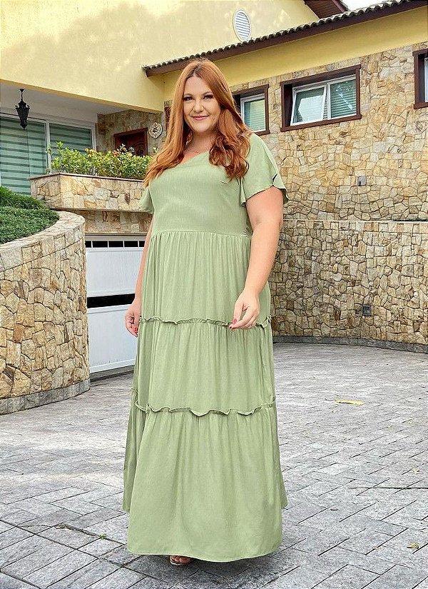 Vestido Longo Com Manga Curta Verde Claro Três Marias - 20061