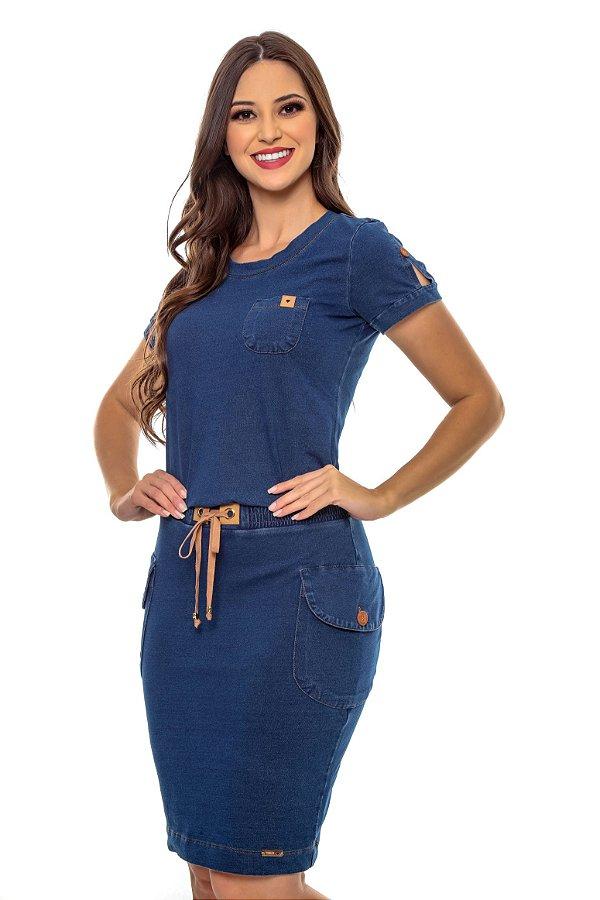 Vestido Malha Denim Det Courinho e Costura Colorida Heloise Hapuk - 60519