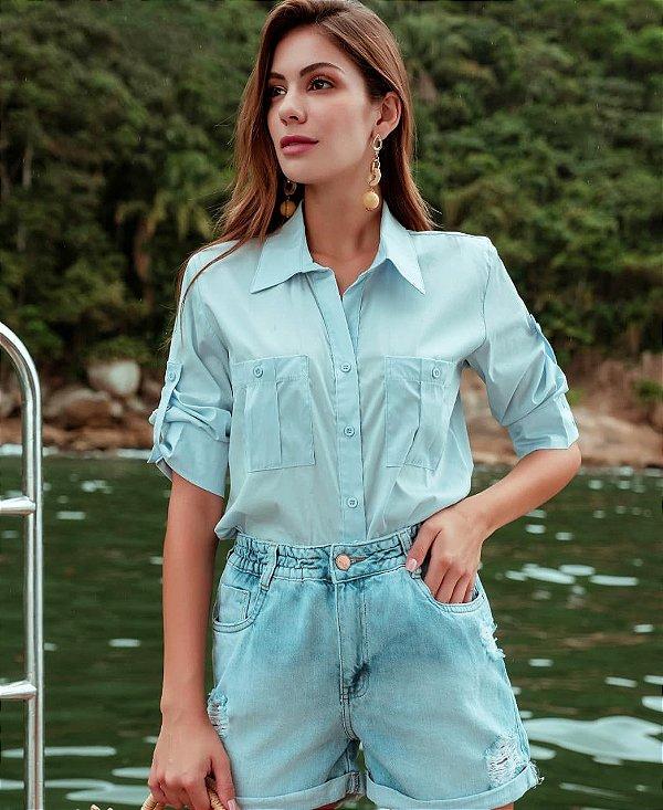 Camisa Em Tricoline Manga 3/4 Com Martingale Azul Claro - OVC28