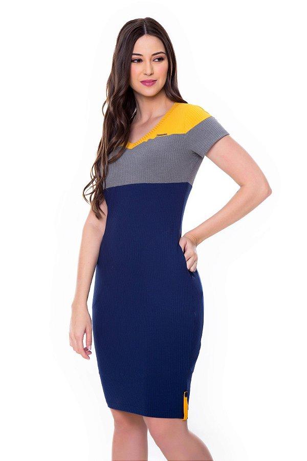 Vestido de Malha Canelada Rec Color Clock Amarelo Jeny Hapuk - 60566